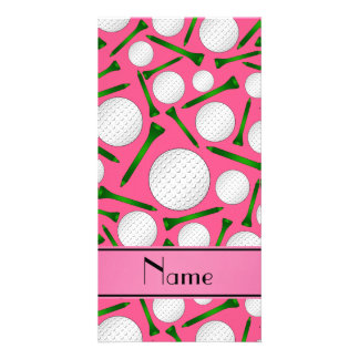 Personalized name pink golf balls tees personalized photo card