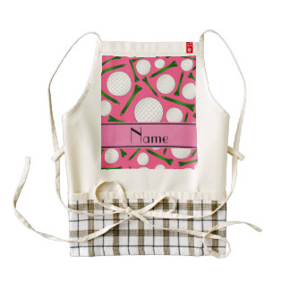 Personalized name pink golf balls tees zazzle HEART apron