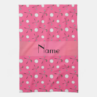 Personalized name pink golf balls towel