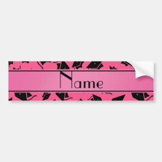Personalized name pink graduation cap bumper stickers