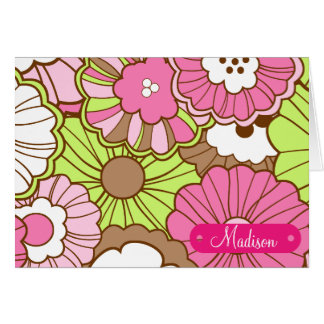 Personalized Name Pink Green Flowers Pattern Card