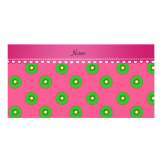 Personalized name pink green kiwi photo card
