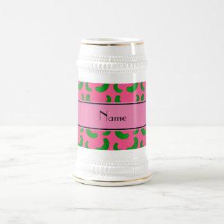 Personalized name pink green pickles mug