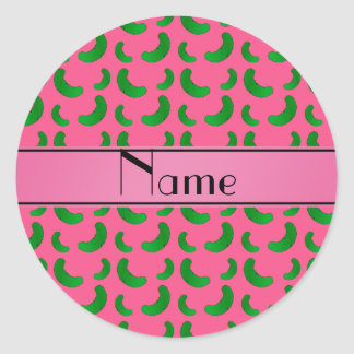 Personalized name pink green pickles round sticker