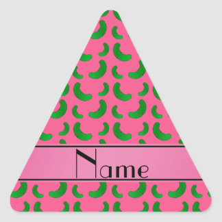Personalized name pink green pickles triangle sticker