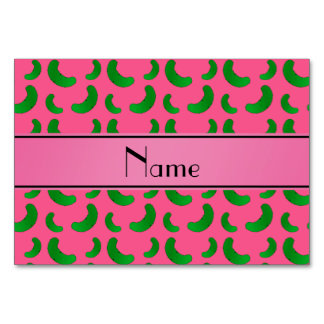 Personalized name pink green pickles table cards