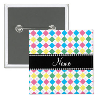 Personalized name Pink, green, yellow blue argyle 2 Inch Square Button