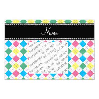 Personalized name Pink, green, yellow blue argyle Photo Print