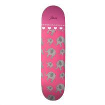 Personalized name pink grey elephants skateboard