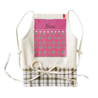 Personalized name pink grey elephants zazzle HEART apron