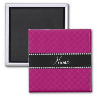 Personalized name pink grid pattern fridge magnet