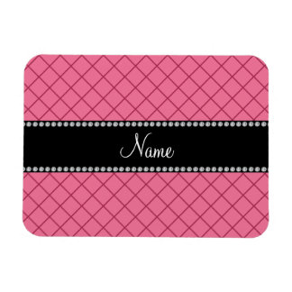Personalized name pink grid pattern magnet