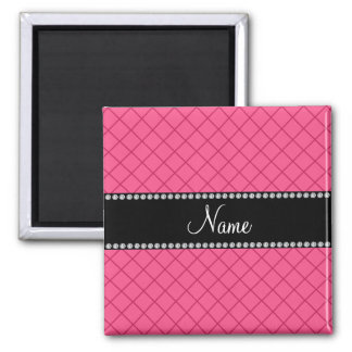 Personalized name pink grid pattern refrigerator magnet