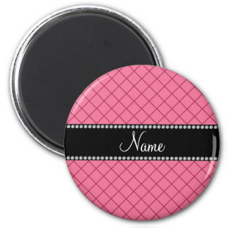 Personalized name pink grid pattern magnets