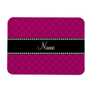 Personalized name pink grid pattern rectangle magnets