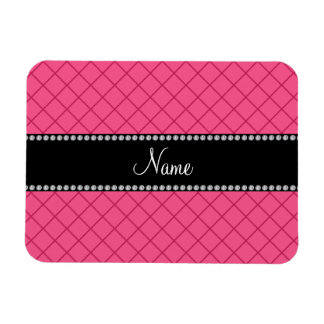 Personalized name pink grid pattern vinyl magnets