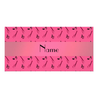 Personalized name pink guitar pattern photo greeting card