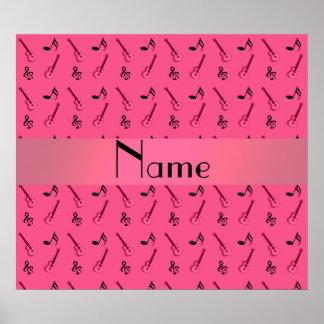 Personalized name pink guitar pattern print