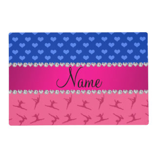 Personalized name pink gymnastics blue hearts laminated placemat