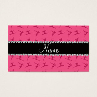 Personalized name pink gymnastics pattern business card