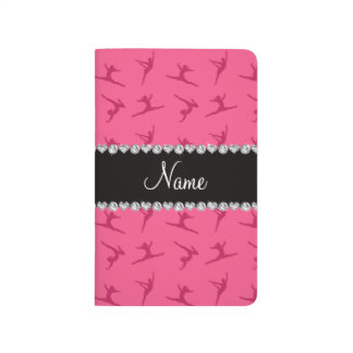 Personalized name pink gymnastics pattern journal