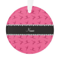 Personalized name pink gymnastics pattern ornament
