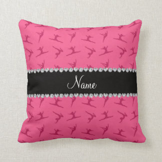 Personalized name pink gymnastics pattern throw pillows