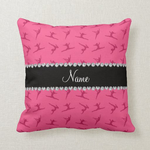 Personalized name pink gymnastics pattern throw pillows