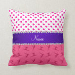 Personalized name pink gymnastics pink stars throw pillows