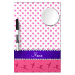 Personalized name pink gymnastics pink stars dry erase board with mirror