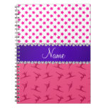 Personalized name pink gymnastics pink stars notebook