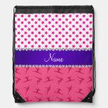 Personalized name pink gymnastics pink stars drawstring bag