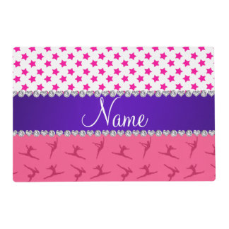 Personalized name pink gymnastics pink stars placemat