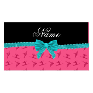 Personalized name pink gymnastics turquoise bow business card template