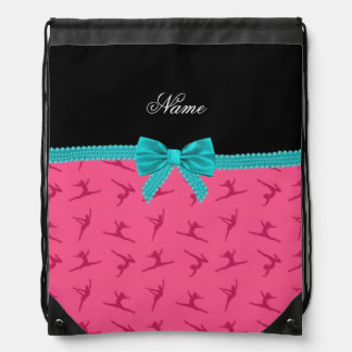 Personalized name pink gymnastics turquoise bow cinch bags