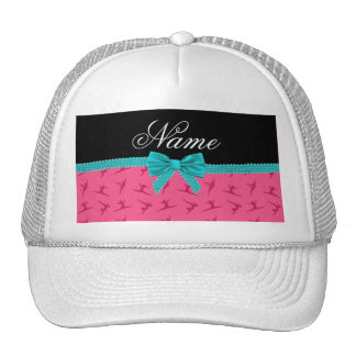 Personalized name pink gymnastics turquoise bow hats