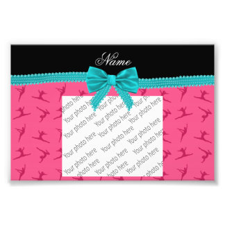 Personalized name pink gymnastics turquoise bow photo print