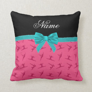 Personalized name pink gymnastics turquoise bow pillows