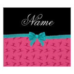 Personalized name pink gymnastics turquoise bow print