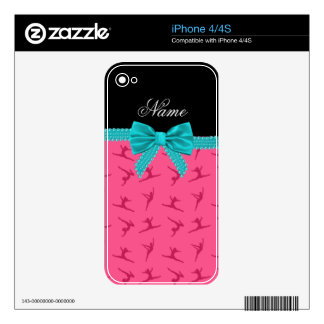 Personalized name pink gymnastics turquoise bow iPhone 4 decal