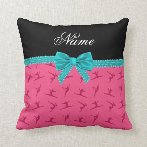 Personalized name pink gymnastics turquoise bow throw pillow Zazzle