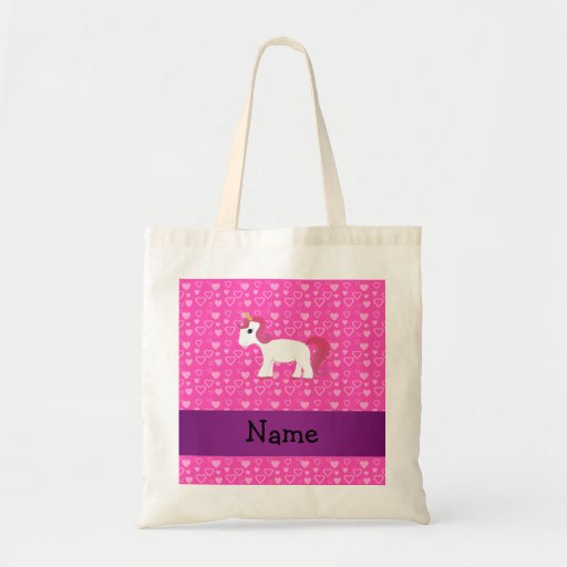 Personalized name pink hair unicorn canvas bags