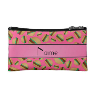 Personalized name pink hamburger pattern cosmetic bags