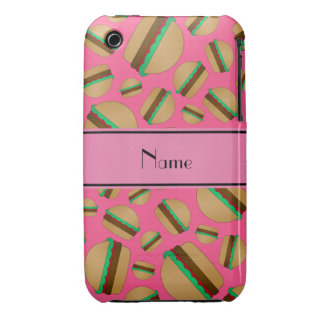 Personalized name pink hamburger pattern Case-Mate iPhone 3 case