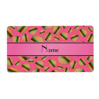 Personalized name pink hamburger pattern labels