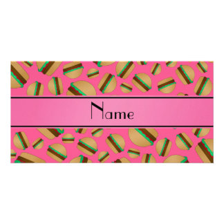 Personalized name pink hamburger pattern photo card