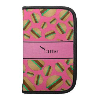 Personalized name pink hamburger pattern folio planners