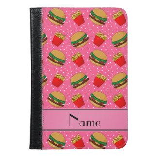 Personalized name pink hamburgers fries dots