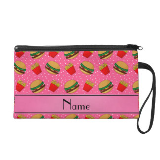 Personalized name pink hamburgers fries dots wristlet clutches