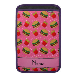 Personalized name pink hamburgers fries dots MacBook sleeves
